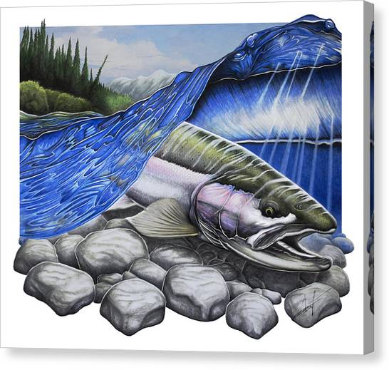 Fly Fishing Canvas Print - Steelhead Dreams by Nick Laferriere