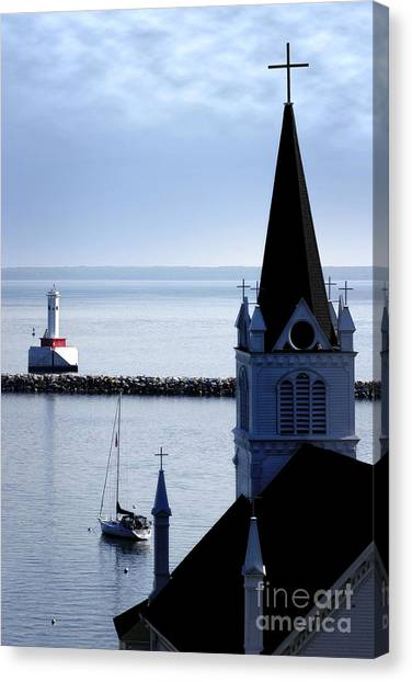 Steeple On Lake Huron Canvas Print