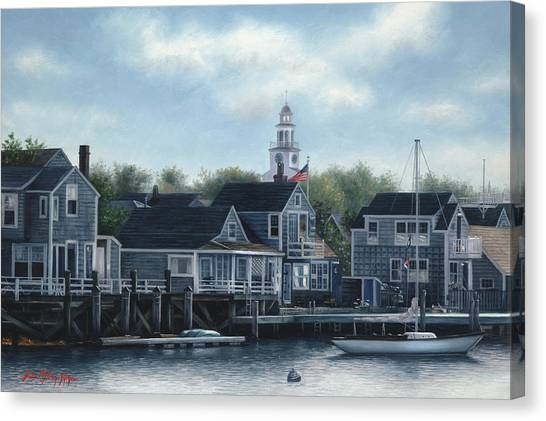 Steeple View Nantucket Canvas Print by Julia O'Malley-Keyes
