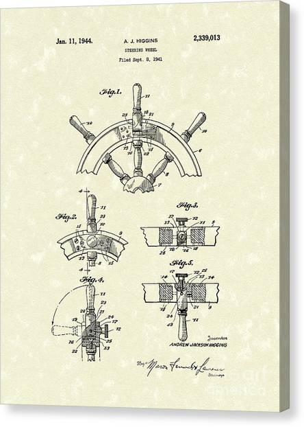 Steering Wheel 1944 Patent Art Canvas Print by Prior Art Design