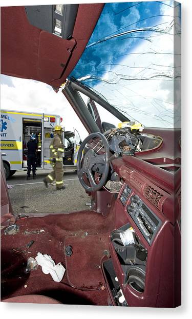 Mvc Canvas Print - Steering Wheel Damage From Car Crash by Kevin Link