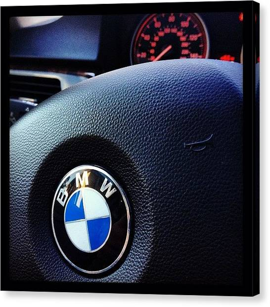 Automobiles Canvas Print - Steering Wheel Of A 2009 328i Bmw By by Foto Funnel