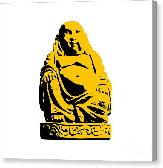 Andy Warhol Canvas Print - Stencil Buddha Yellow by Pixel Chimp