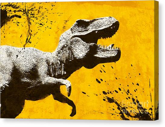 Dinosaurs Canvas Print - Stencil Trex by Pixel Chimp