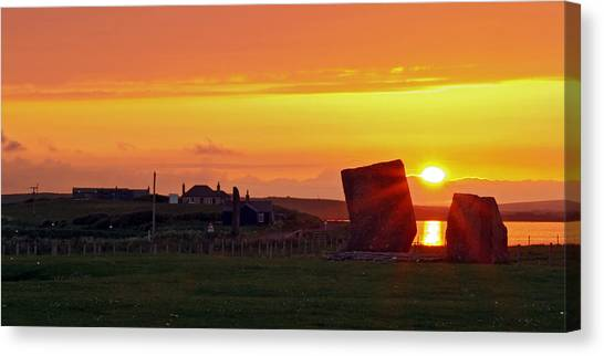 Stenness Sunset 4 Canvas Print by Steve Watson