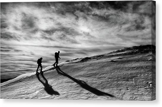 Skiing Canvas Print - Step By Step by Marcel Rebro