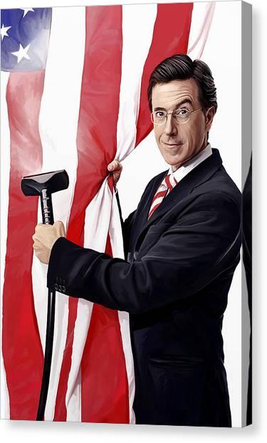 Host Canvas Print - Stephen Colbert Artwork by Sheraz A
