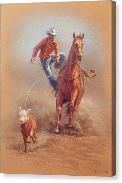 Cowboys Canvas Print - Steppin' Down At Red Lodge by Paul Krapf