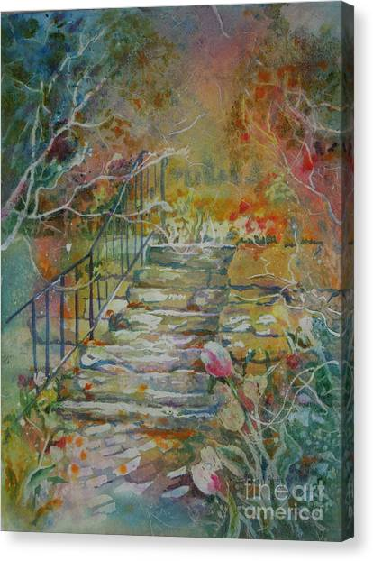 Steps And Tulips Canvas Print