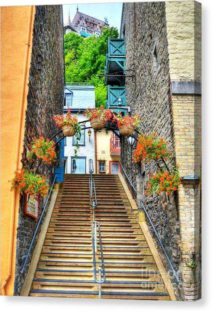 Canvas Print featuring the photograph Steps Of Old Quebec by Mel Steinhauer