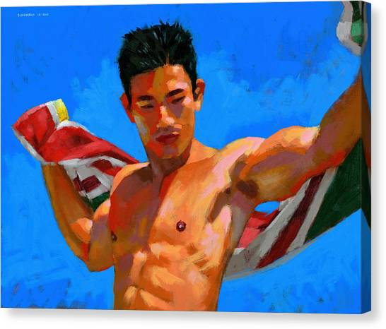 Bodybuilder Canvas Print - Chinese Bodybuilder With Towel by Douglas Simonson