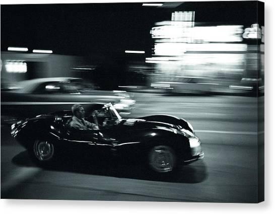 Steve Mcqueen Jaguar Xk-ss On Sunset Blvd Canvas Print