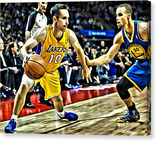 Stephen Curry Canvas Print - Steve Nash In Action by Florian Rodarte