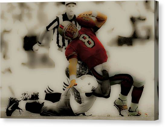 Brigham Young Byu Canvas Print - Steve Young Going Down by Brian Reaves