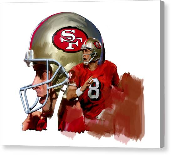 Joe Montana Canvas Print - Steve Young   by Iconic Images Art Gallery David Pucciarelli
