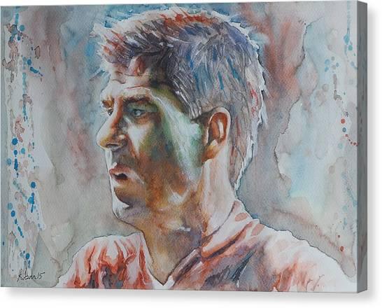 Liverpool Fc Canvas Print - Steven Gerrard - Portrait 1 by Baris Kibar
