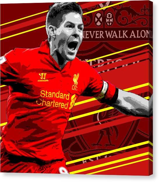 Soccer Leagues Canvas Print - Steven Gerrard Liverpool Print by Pro Prints