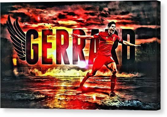 Liverpool Fc Canvas Print - Steven Gerrard Liverpool Symbol by Florian Rodarte