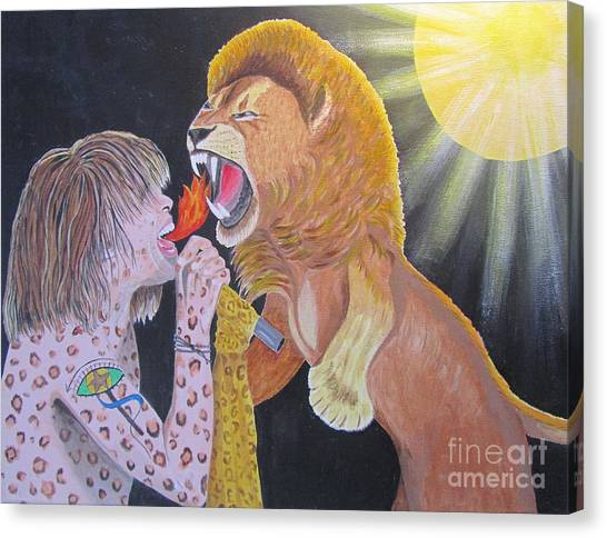 Steven Tyler Versus Lion Canvas Print by Jeepee Aero