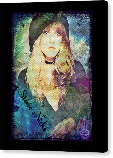 Stevie Nicks Canvas Print - Stevie Nicks - Beret by Absinthe Art By Michelle LeAnn Scott