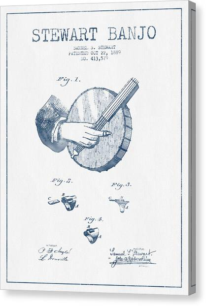 Banjos Canvas Print - Stewart Banjo Patent Drawing From 1888 - Blue Ink by Aged Pixel