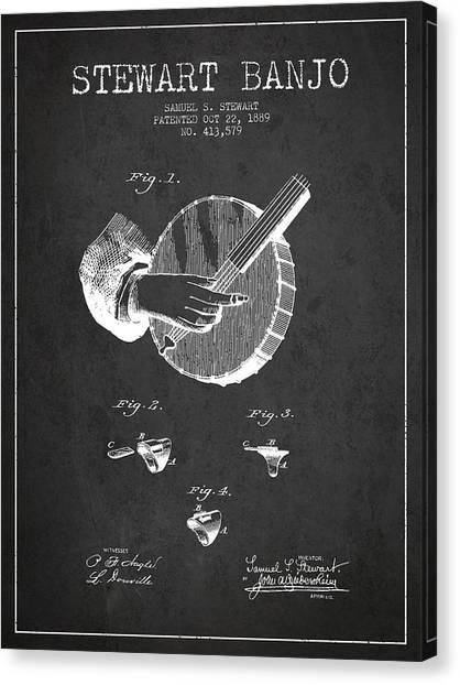 Banjos Canvas Print - Stewart Banjo Patent Drawing From 1888 - Dark by Aged Pixel