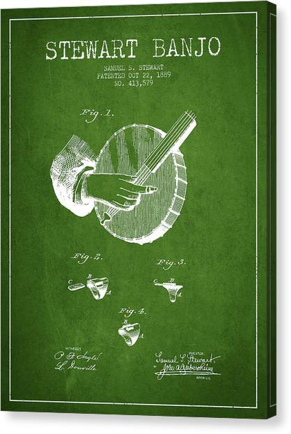 Banjos Canvas Print - Stewart Banjo Patent Drawing From 1888 - Green by Aged Pixel