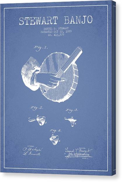 Banjos Canvas Print - Stewart Banjo Patent Drawing From 1888 - Light Blue by Aged Pixel