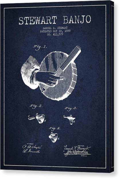 Banjos Canvas Print - Stewart Banjo Patent Drawing From 1888 - Navy Blue by Aged Pixel