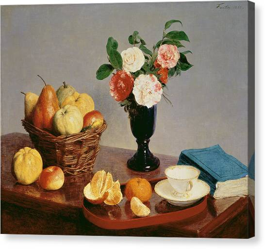 Fruit Baskets Canvas Print - Still Life by Ignace Henri Jean Fantin-Latour