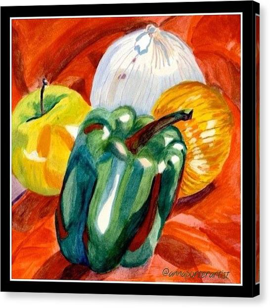 Onions Canvas Print - Still Life Apple, Pepper And Onions by Anna Porter