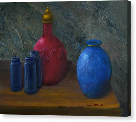 Still Life Art Blue And Red Jugs And Bottles Canvas Print