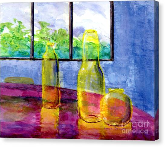 Still Life Art Bright Yellow Bottles And Blue Wall Canvas Print