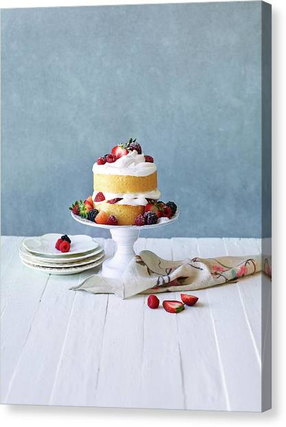 Still Life Berry Cream Layer Cake Canvas Print by Annabelle Breakey