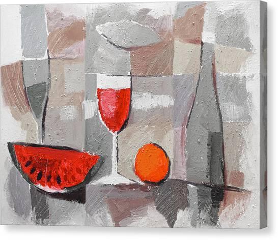 Dinner Table Canvas Print - Still Life Grey by Lutz Baar
