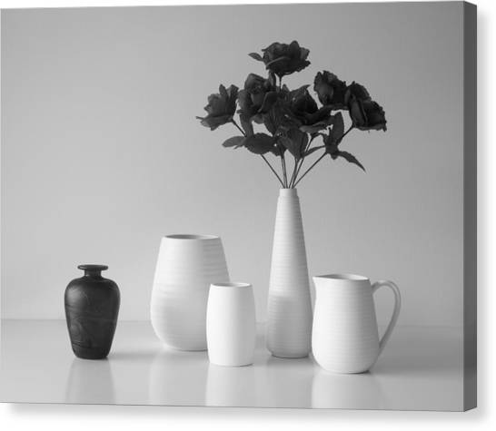Romantic Flower Canvas Print - Still Life In Black And White by Jacqueline Hammer