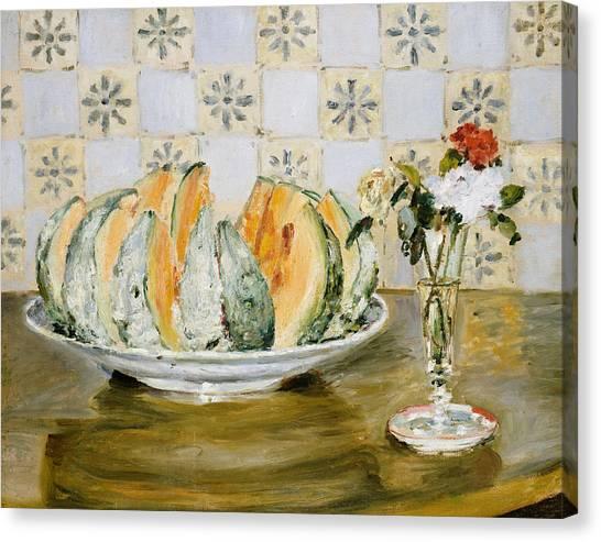 Pierre-auguste Renoir Canvas Print - Still Life Of A Melon And A Vase Of Flowers by Pierre Auguste Renoir