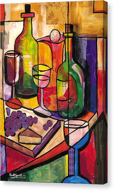 Still Life Of Fruit Wine And Cheese Canvas Print