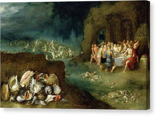 Neptune Canvas Print - Still Life Of Shells With The Feast Of The Gods, C.1615 Oil On Copper by Frans II the Younger Francken