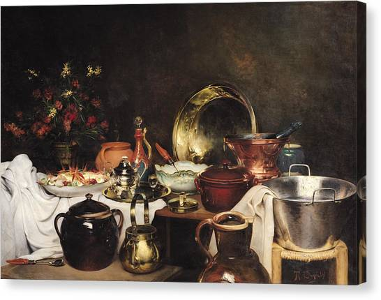 Vase Of Flowers Canvas Print - Still Life Oil On Canvas by Theodore Charles Ange Coquelin
