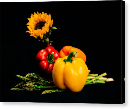 Asparagus Canvas Print - Still Life Peppers Asparagus Sunflower by Jon Woodhams