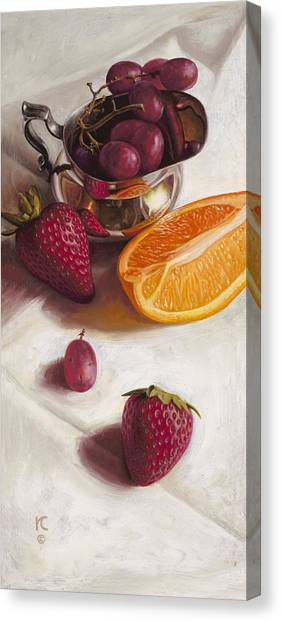 Strawberry Canvas Print - Still Life Reflections by Ron Crabb
