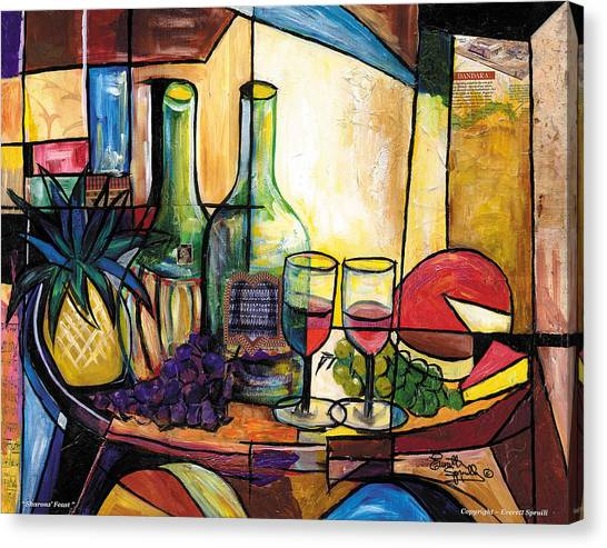Frank Stella Canvas Print - Still Life / Sharons' Feast by Everett Spruill