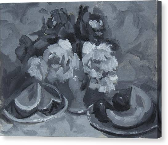 Canteloupes Canvas Print - Still Life Tonal Study by Diane McClary