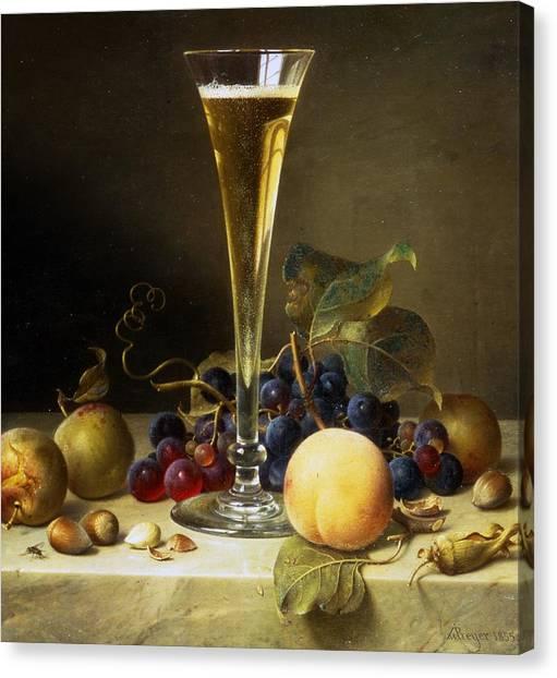 Vine Grapes Canvas Print - Still Life With A Glass Of Champagne by Johann Wilhelm Preyer