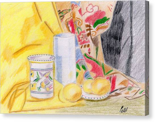 Still Life With A Patterned Background Canvas Print by Bav Patel