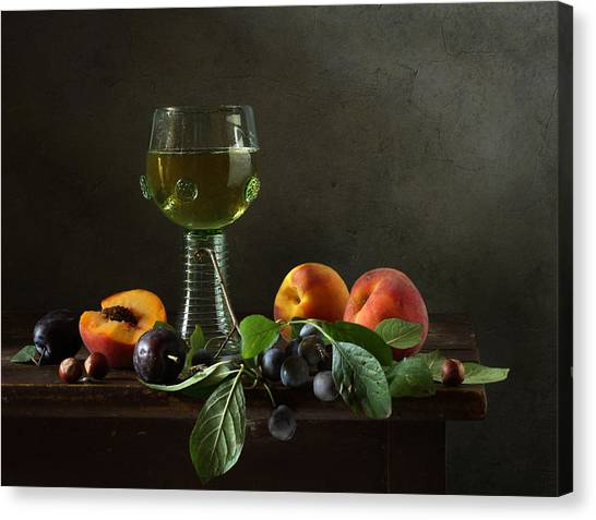 Still Life With A Roamer And Fruit Canvas Print by Diana Amelina