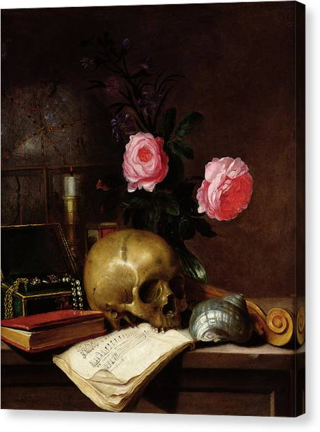 Cranes Canvas Print - Still Life With A Skull Oil On Canvas by Letellier