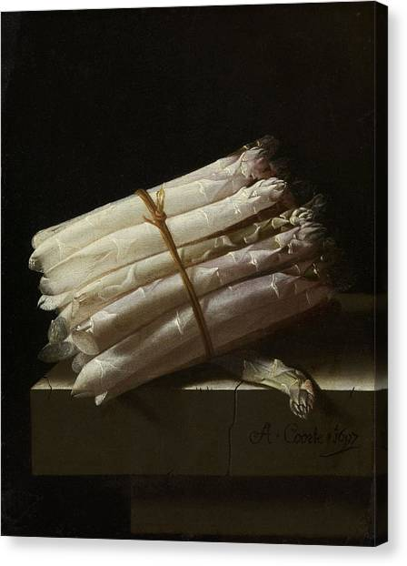 Still Life With Asparagus, Adriaen Coorte Canvas Print by Quint Lox