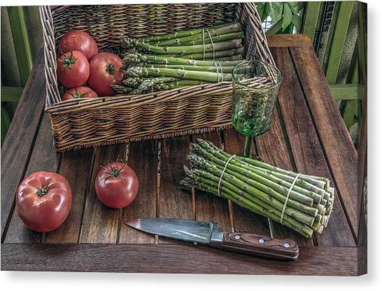 Still Life With Asparagus And Tomatoes Canvas Print